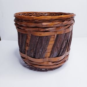 Vintage Accents - Wicker Basket Woven with Wooden Accents